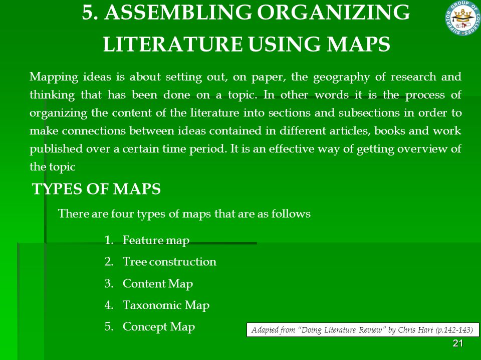 21 Mapping ideas is about setting out, on paper, the geography of research and thinking that has been done on a topic. In other words it is the proces