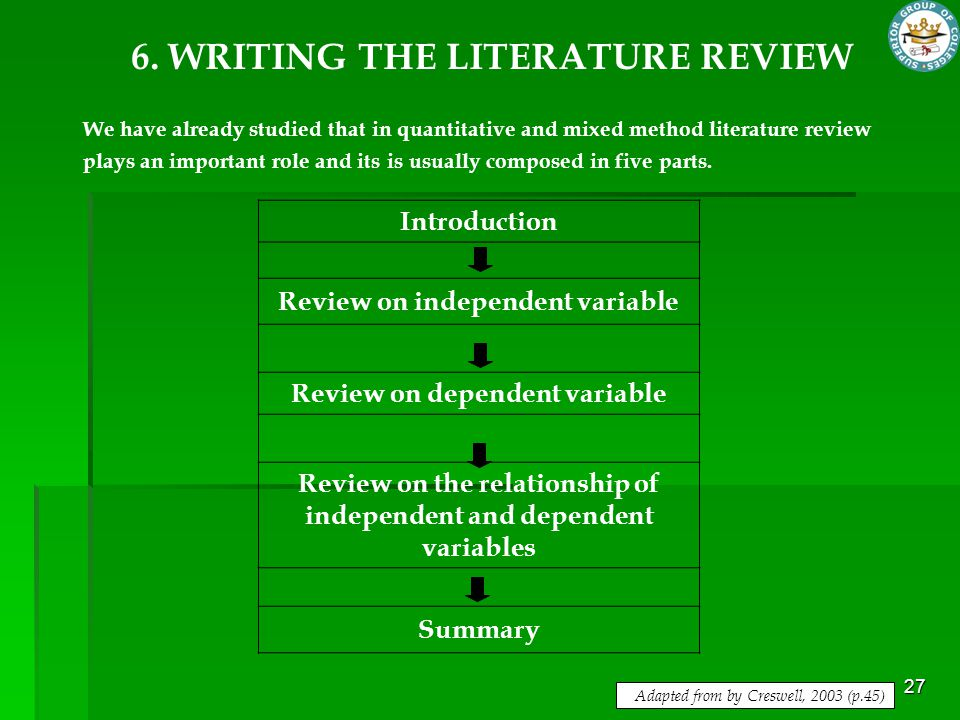 27 6. WRITING THE LITERATURE REVIEW We have already studied that in quantitative and mixed method literature review plays an important role and its is