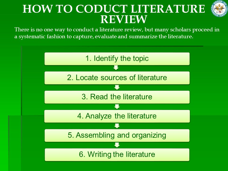 HOW TO CODUCT LITERATURE REVIEW There is no one way to conduct a literature review, but many scholars proceed in a systematic fashion to capture, eval
