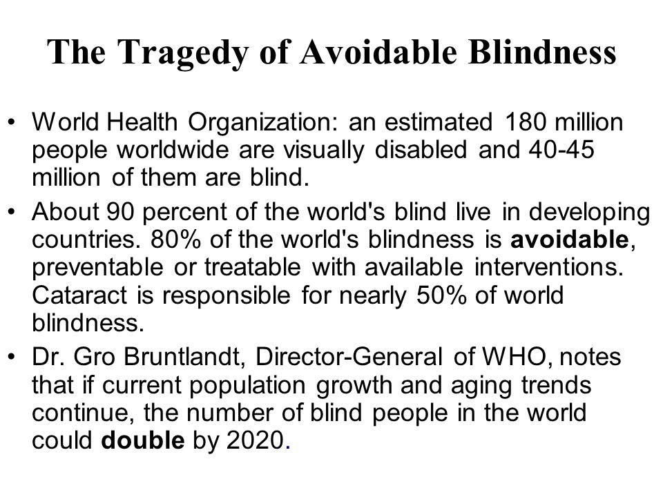Major causes of world blindness Cataract Trachoma Glaucoma Xerophthalmia – Vitamin A.