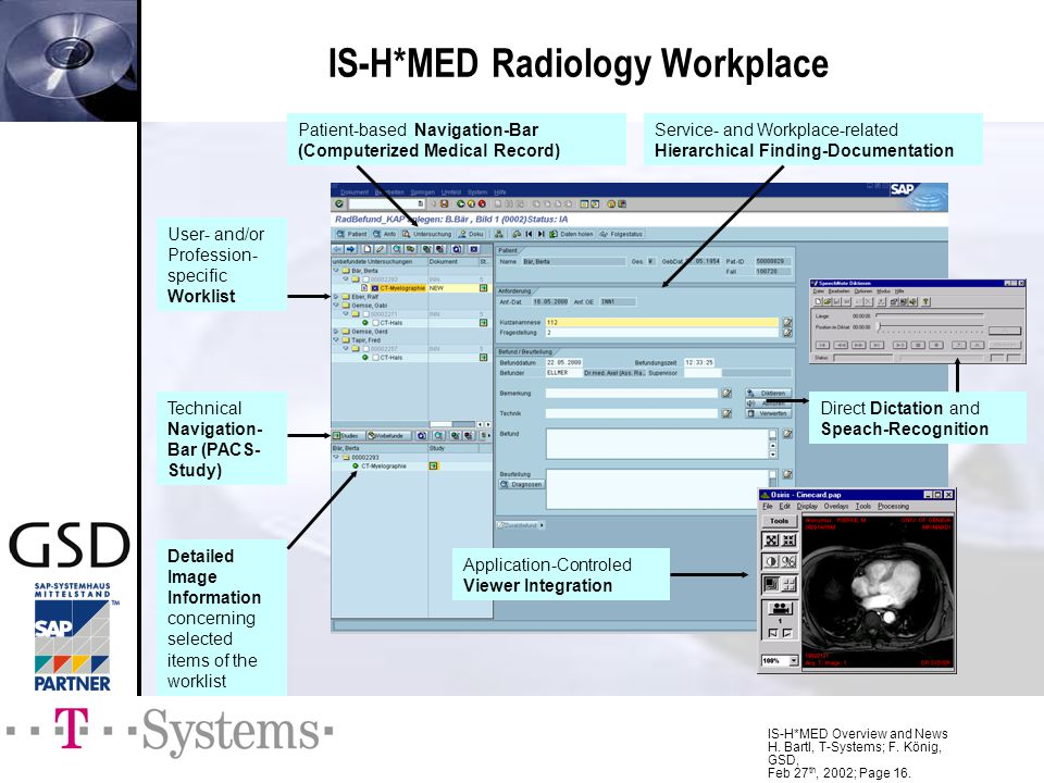 IS-H*MED Overview and News H. Bartl, T-Systems; F. König, GSD, Feb 27 th, 2002; Page 16. IS-H*MED Radiology Workplace User- and/or Profession- specifi
