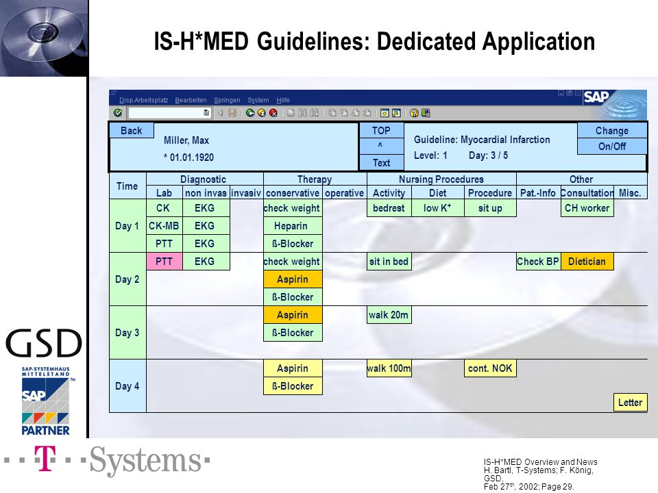IS-H*MED Overview and News H. Bartl, T-Systems; F. König, GSD, Feb 27 th, 2002; Page 29. IS-H*MED Guidelines: Dedicated Application Miller, Max * 01.0
