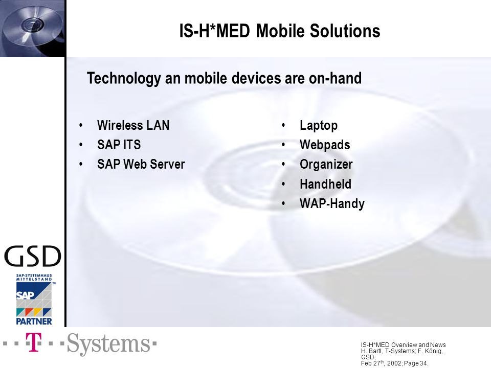 IS-H*MED Overview and News H. Bartl, T-Systems; F. König, GSD, Feb 27 th, 2002; Page 34. Wireless LAN SAP ITS SAP Web Server Laptop Webpads Organizer