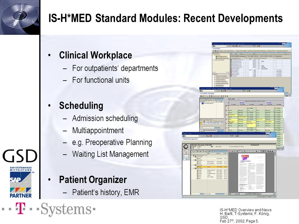 IS-H*MED Overview and News H. Bartl, T-Systems; F. König, GSD, Feb 27 th, 2002; Page 5. IS-H*MED Standard Modules: Recent Developments Clinical Workpl