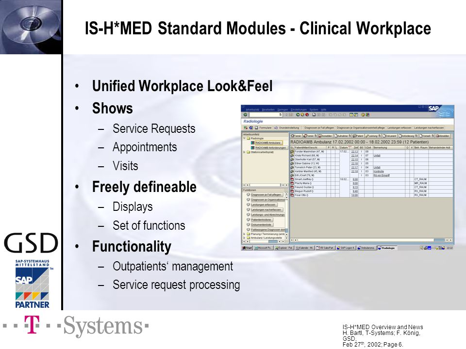 IS-H*MED Overview and News H. Bartl, T-Systems; F. König, GSD, Feb 27 th, 2002; Page 6. IS-H*MED Standard Modules - Clinical Workplace Unified Workpla