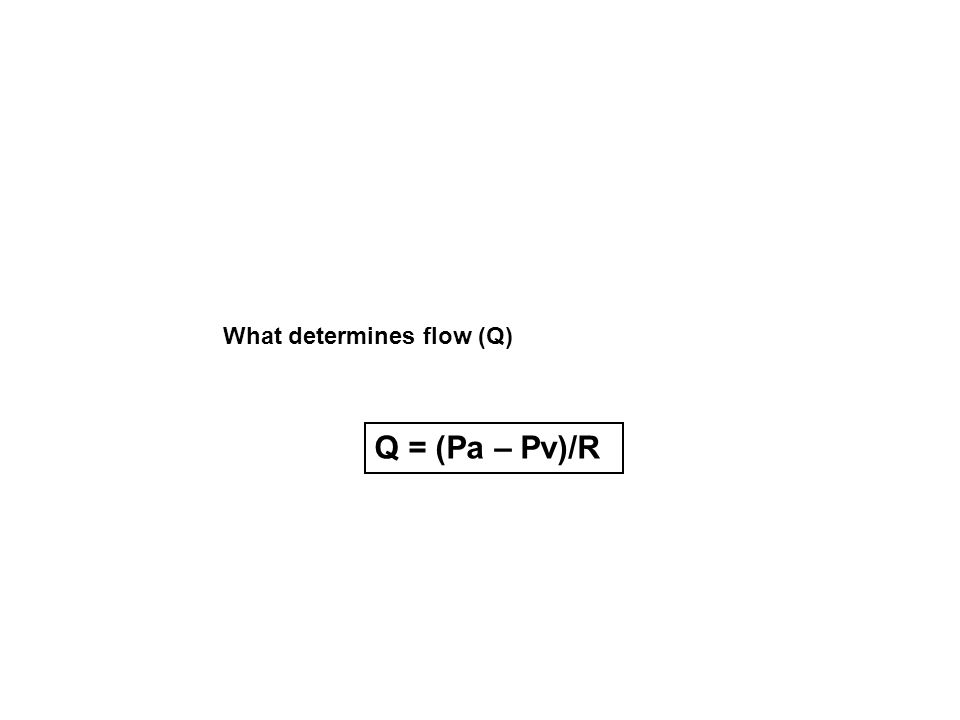 What determines flow (Q) Q = (Pa – Pv)/R