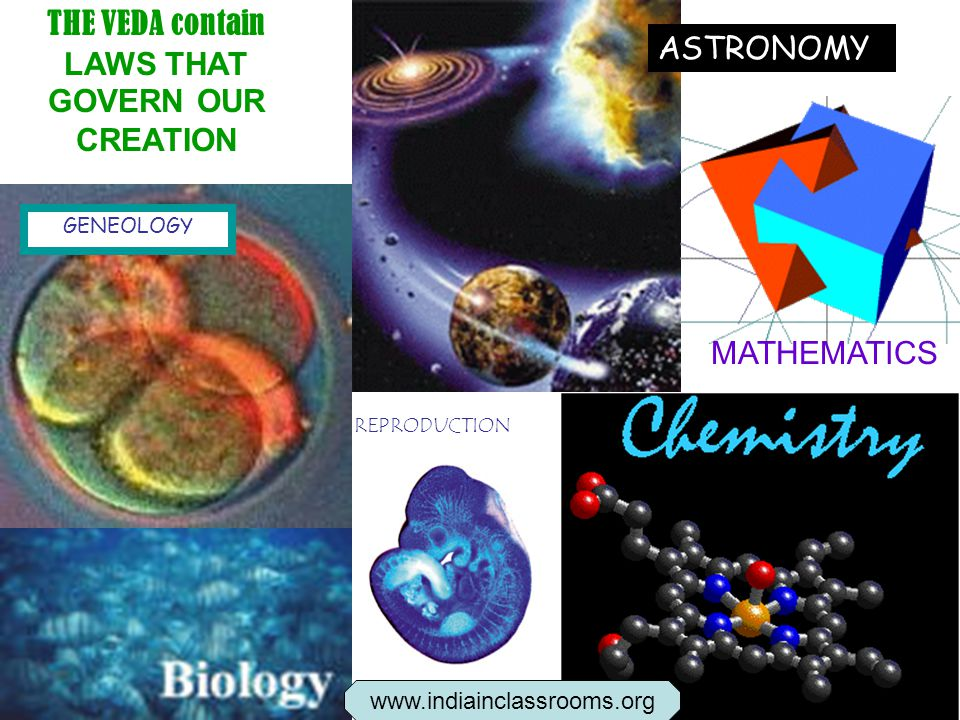 THE VEDA contain LAWS THAT GOVERN OUR CREATION GENEOLOGY REPRODUCTION MATHEMATICS ASTRONOMY www.indiainclassrooms.org