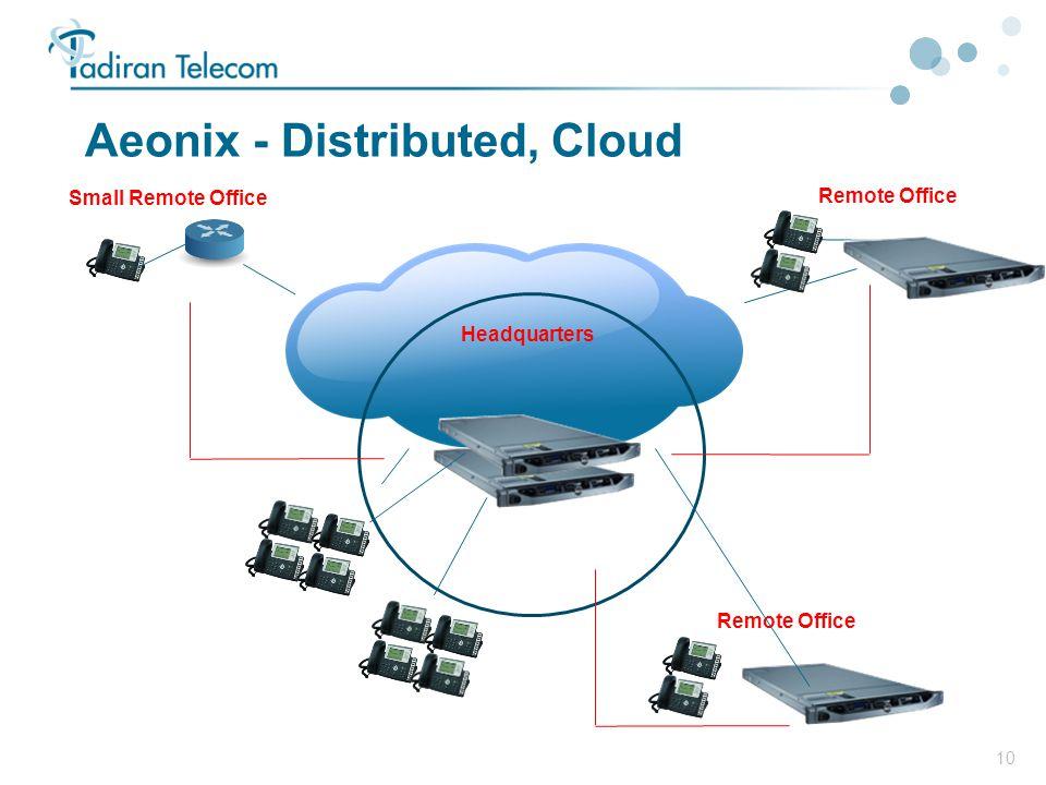 10 Aeonix - Distributed, Cloud Headquarters Remote Office Small Remote Office Remote Office