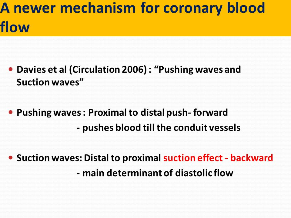 """A newer mechanism for coronary blood flow Davies et al (Circulation 2006) : """"Pushing waves and Suction waves"""" Pushing waves : Proximal to distal push-"""