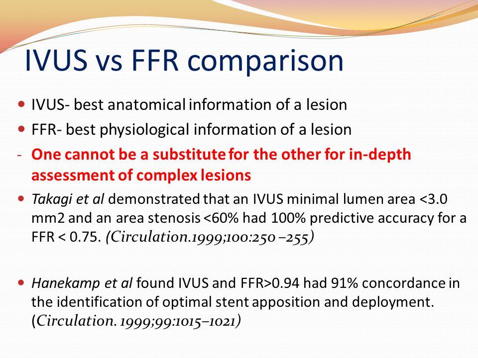 IVUS vs FFR comparison IVUS- best anatomical information of a lesion FFR- best physiological information of a lesion - One cannot be a substitute for
