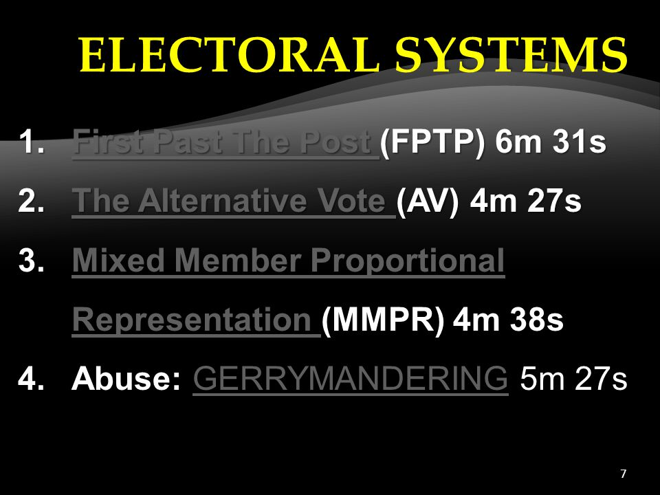 7 1.First Past The Post (FPTP) 6m 31s First Past The Post First Past The Post 2.The Alternative Vote (AV) 4m 27s The Alternative Vote The Alternative Vote 3.Mixed Member Proportional Representation (MMPR) 4m 38sMixed Member Proportional Representation 4.Abuse: GERRYMANDERING 5m 27sGERRYMANDERING ELECTORAL SYSTEMS