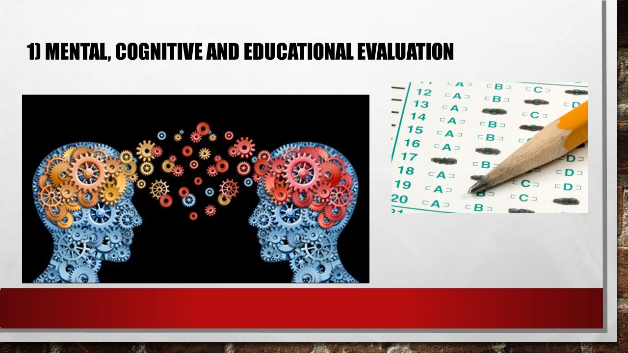 1) MENTAL, COGNITIVE AND EDUCATIONAL EVALUATION