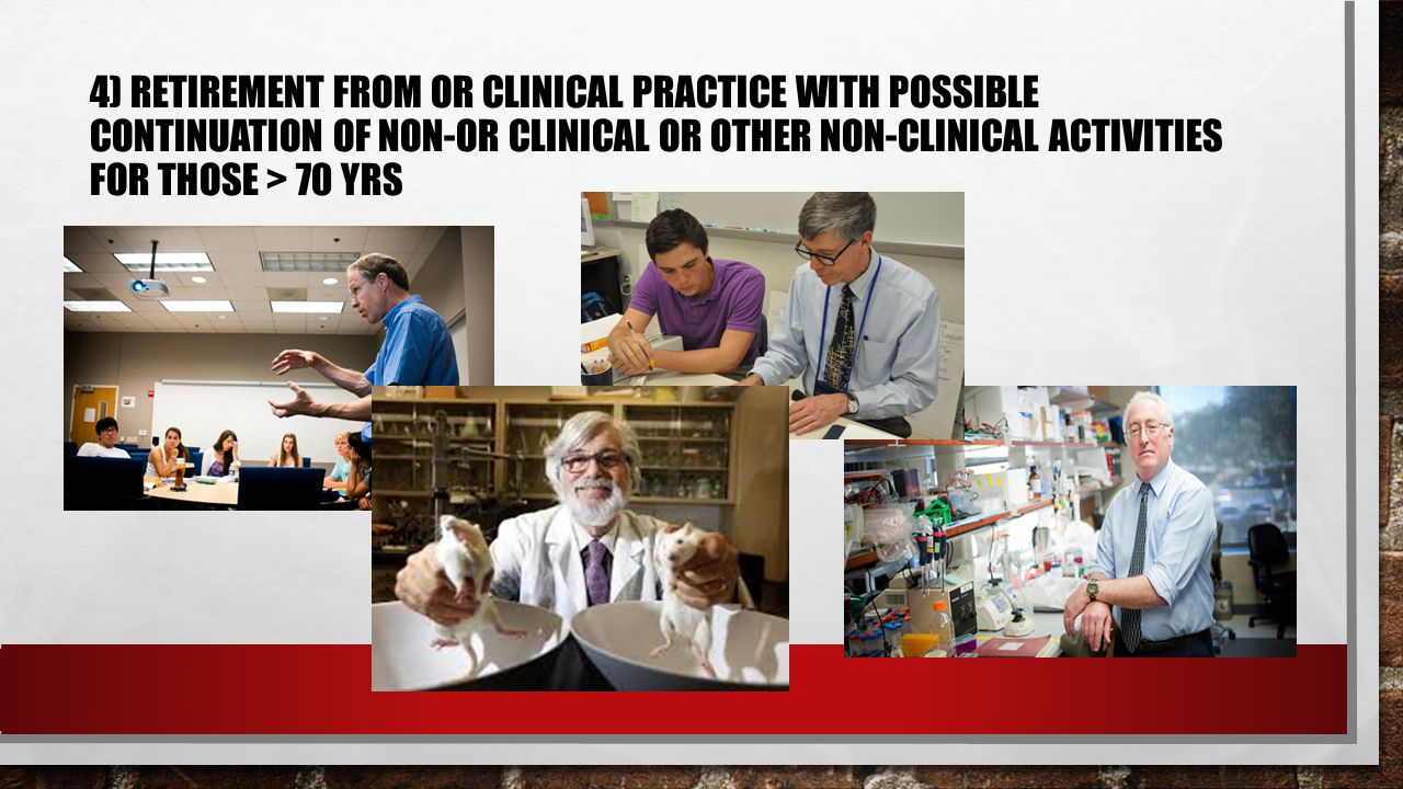 4) RETIREMENT FROM OR CLINICAL PRACTICE WITH POSSIBLE CONTINUATION OF NON-OR CLINICAL OR OTHER NON-CLINICAL ACTIVITIES FOR THOSE > 70 YRS