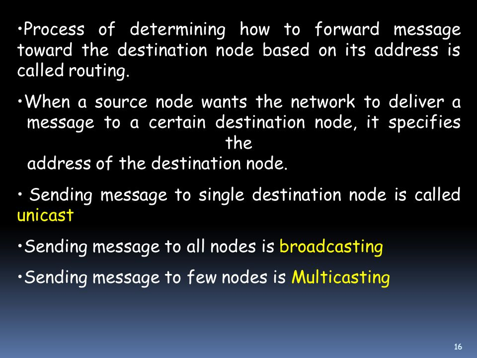Process of determining how to forward message toward the destination node based on its address is called routing.