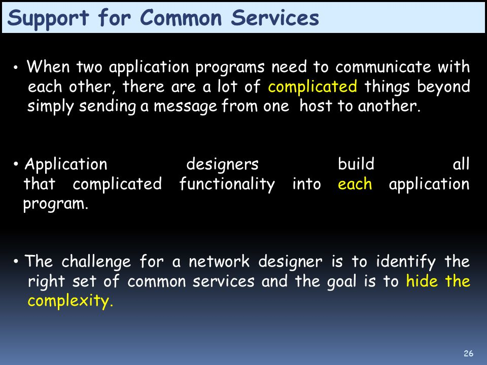 Support for Common Services When two application programs need to communicate with each other, there are a lot of complicated things beyond simply sending a message from one host to another.