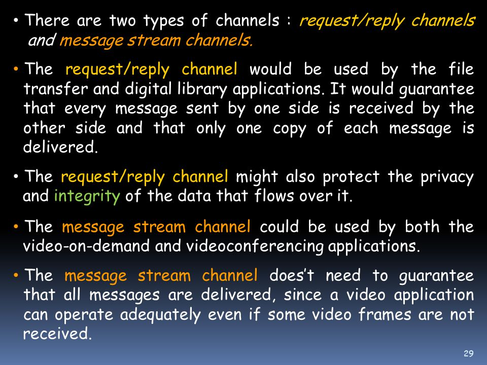 There are two types of channels : request/reply channels and message stream channels.