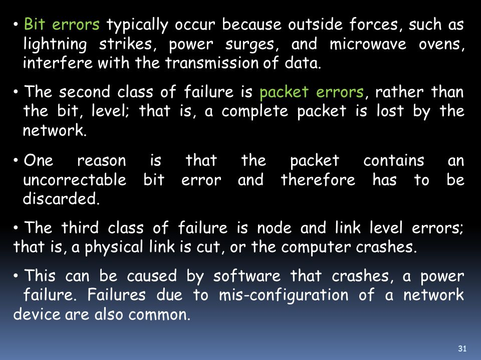 Bit errors typically occur because outside forces, such as lightning strikes, power surges, and microwave ovens, interfere with the transmission of data.