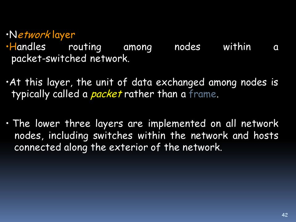 42 Network layer Handles routing among nodes within a packet-switched network.