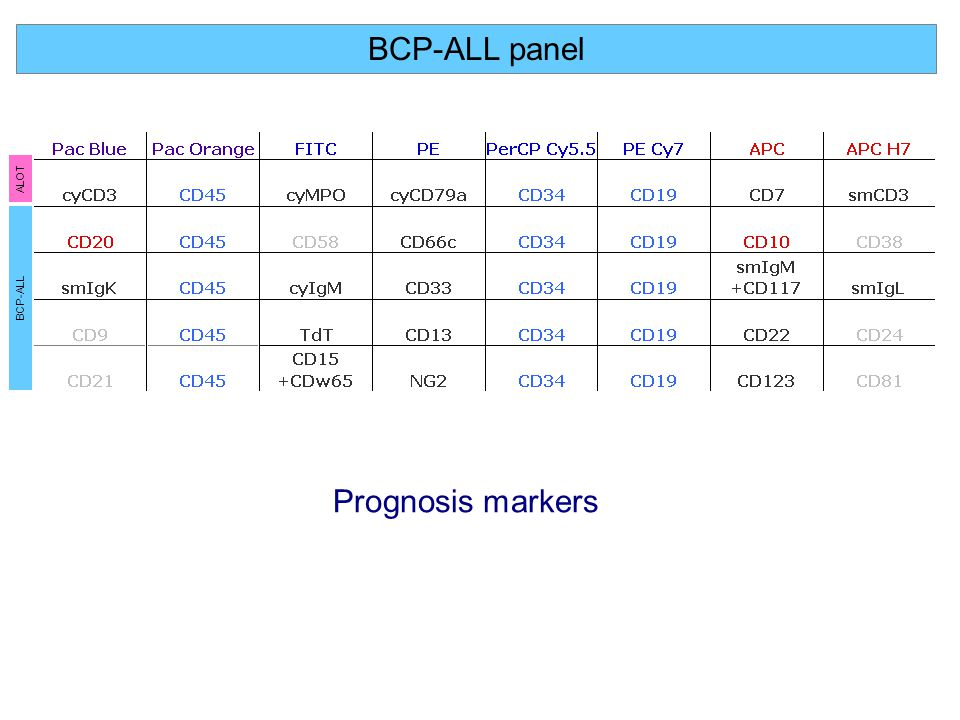 BCP-ALL panel Prognosis markers ALOT BCP-ALL