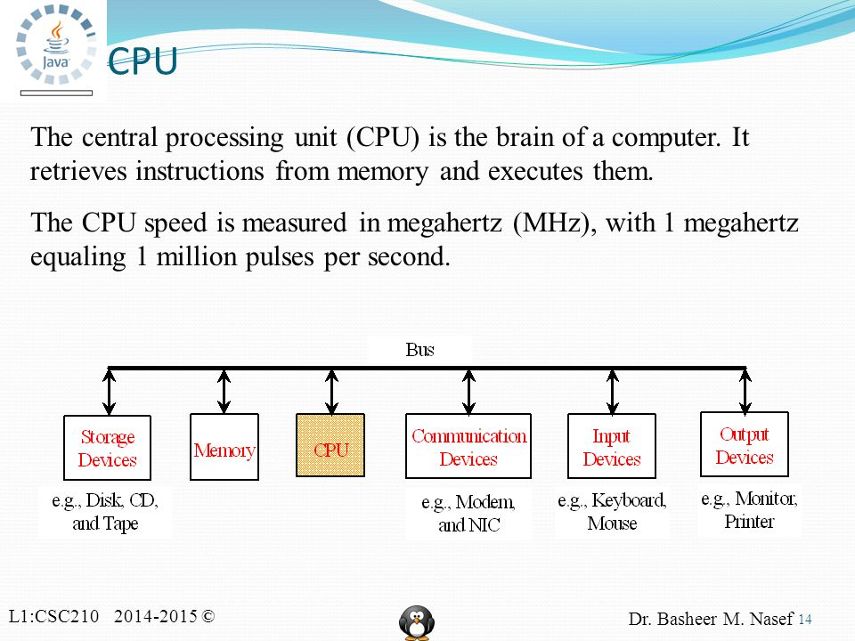 L1:CSC210 2014-2015 © Dr. Basheer M. Nasef CPU 14 The central processing unit (CPU) is the brain of a computer. It retrieves instructions from memory