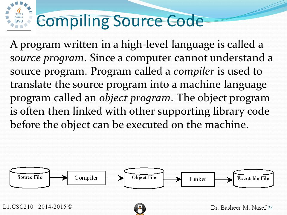 L1:CSC210 2014-2015 © Dr. Basheer M. Nasef Compiling Source Code A program written in a high-level language is called a source program. Since a comput