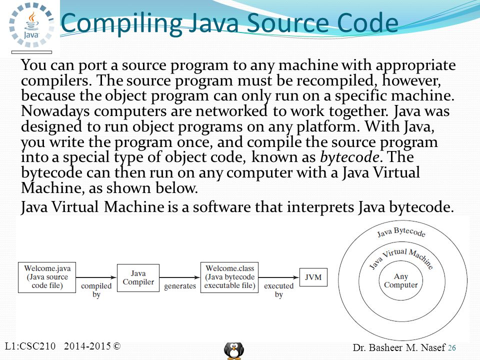 L1:CSC210 2014-2015 © Dr. Basheer M. Nasef Compiling Java Source Code You can port a source program to any machine with appropriate compilers. The sou