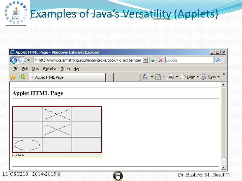 L1:CSC210 2014-2015 © Dr. Basheer M. Nasef Examples of Java's Versatility (Applets) 32