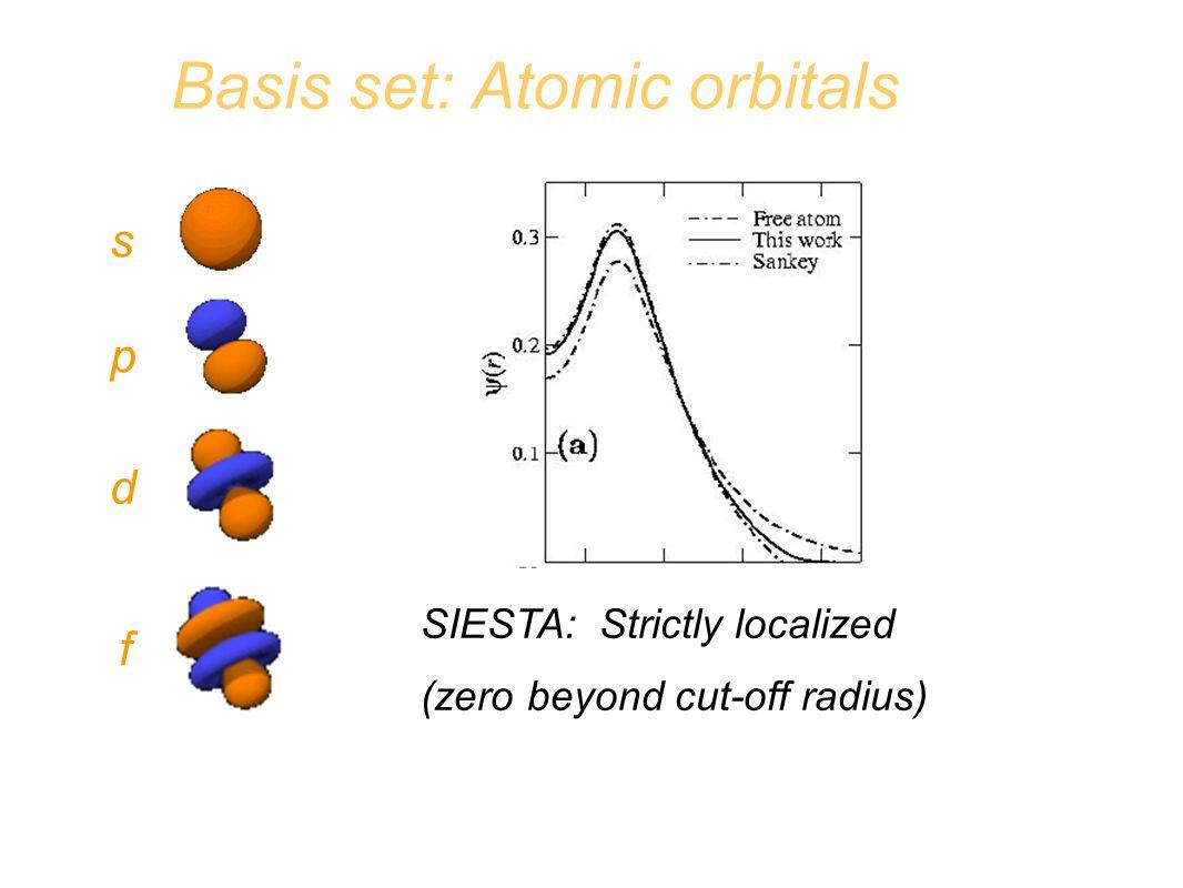 Basis set: Atomic orbitals s p d f SIESTA: Strictly localized (zero beyond cut-off radius)
