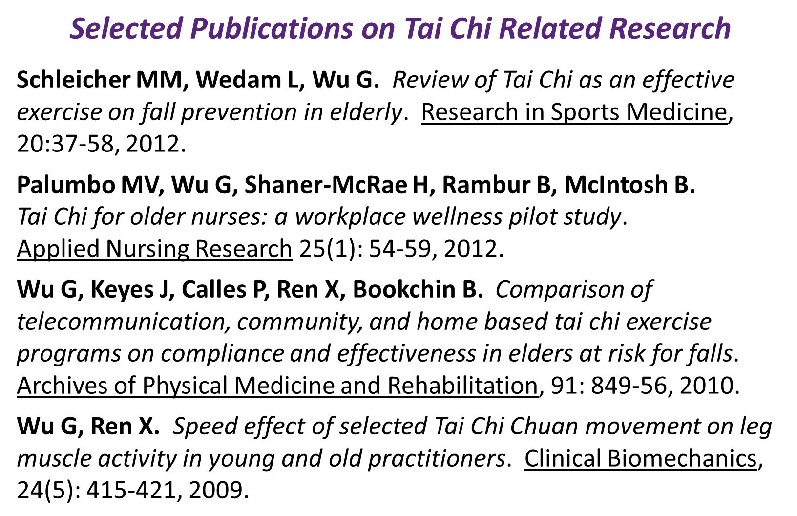 Selected Publications on Tai Chi Related Research Schleicher MM, Wedam L, Wu G.