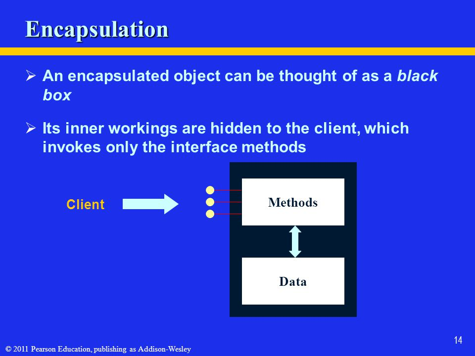 © 2011 Pearson Education, publishing as Addison-Wesley 14 Encapsulation  An encapsulated object can be thought of as a black box  Its inner workings are hidden to the client, which invokes only the interface methods Client Methods Data