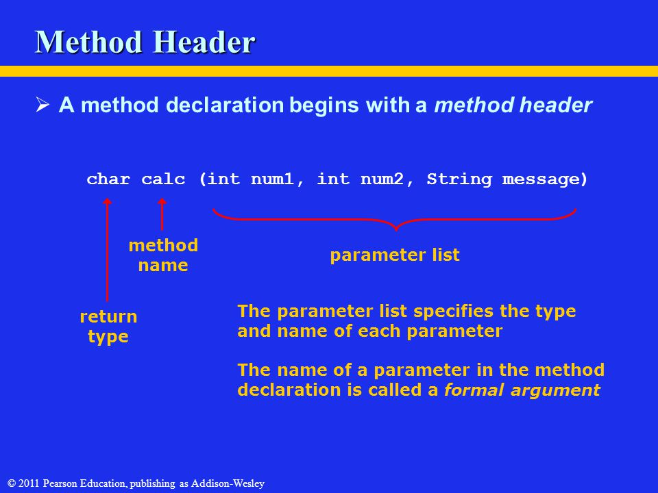 © 2011 Pearson Education, publishing as Addison-Wesley Method Header  A method declaration begins with a method header char calc (int num1, int num2,