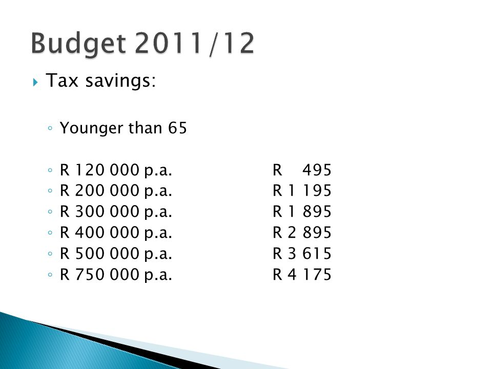  Tax savings: ◦ Younger than 65 ◦ R 120 000 p.a.R 495 ◦ R 200 000 p.a.R 1 195 ◦ R 300 000 p.a.R 1 895 ◦ R 400 000 p.a.R 2 895 ◦ R 500 000 p.a.R 3 615 ◦ R 750 000 p.a.R 4 175