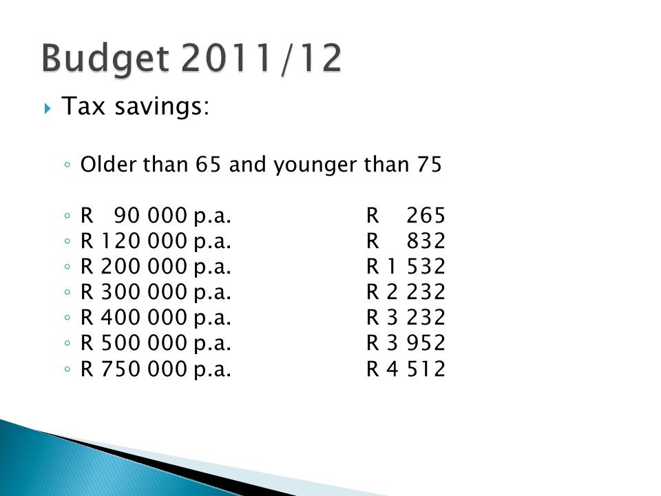  Tax savings: ◦ Older than 65 and younger than 75 ◦ R 90 000 p.a.R 265 ◦ R 120 000 p.a.R 832 ◦ R 200 000 p.a.R 1 532 ◦ R 300 000 p.a.R 2 232 ◦ R 400 000 p.a.R 3 232 ◦ R 500 000 p.a.R 3 952 ◦ R 750 000 p.a.R 4 512