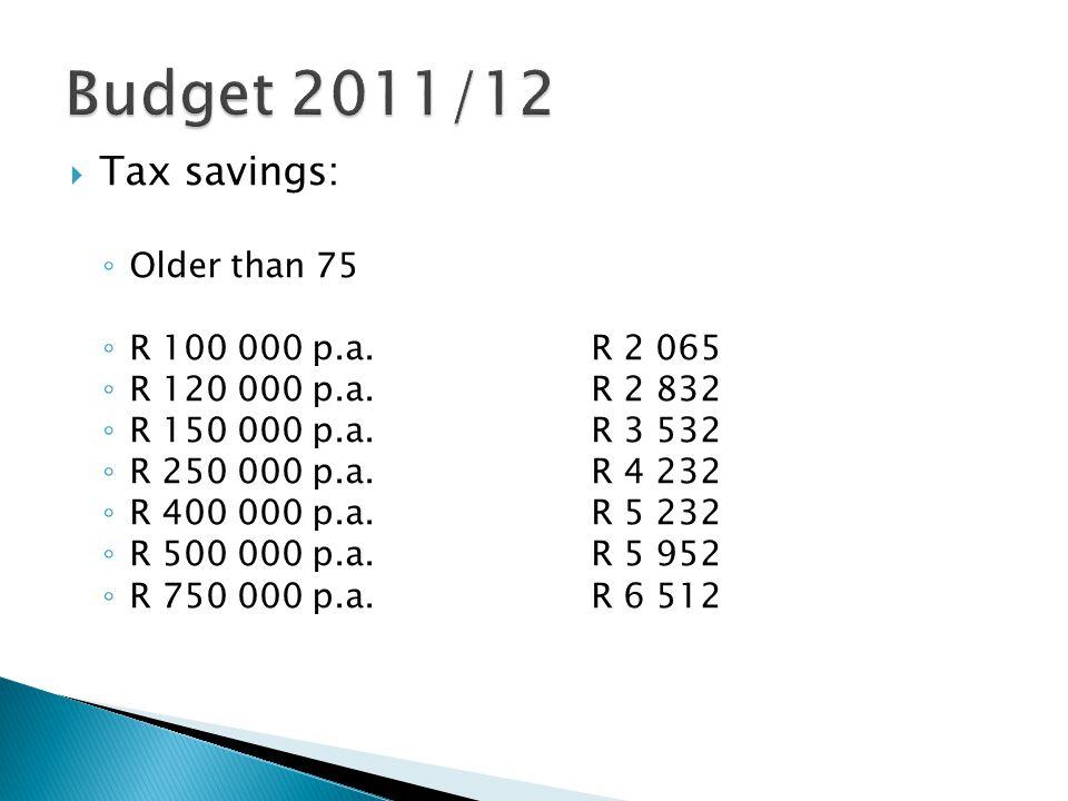  Tax savings: ◦ Older than 75 ◦ R 100 000 p.a.R 2 065 ◦ R 120 000 p.a.R 2 832 ◦ R 150 000 p.a.R 3 532 ◦ R 250 000 p.a.R 4 232 ◦ R 400 000 p.a.R 5 232 ◦ R 500 000 p.a.R 5 952 ◦ R 750 000 p.a.R 6 512