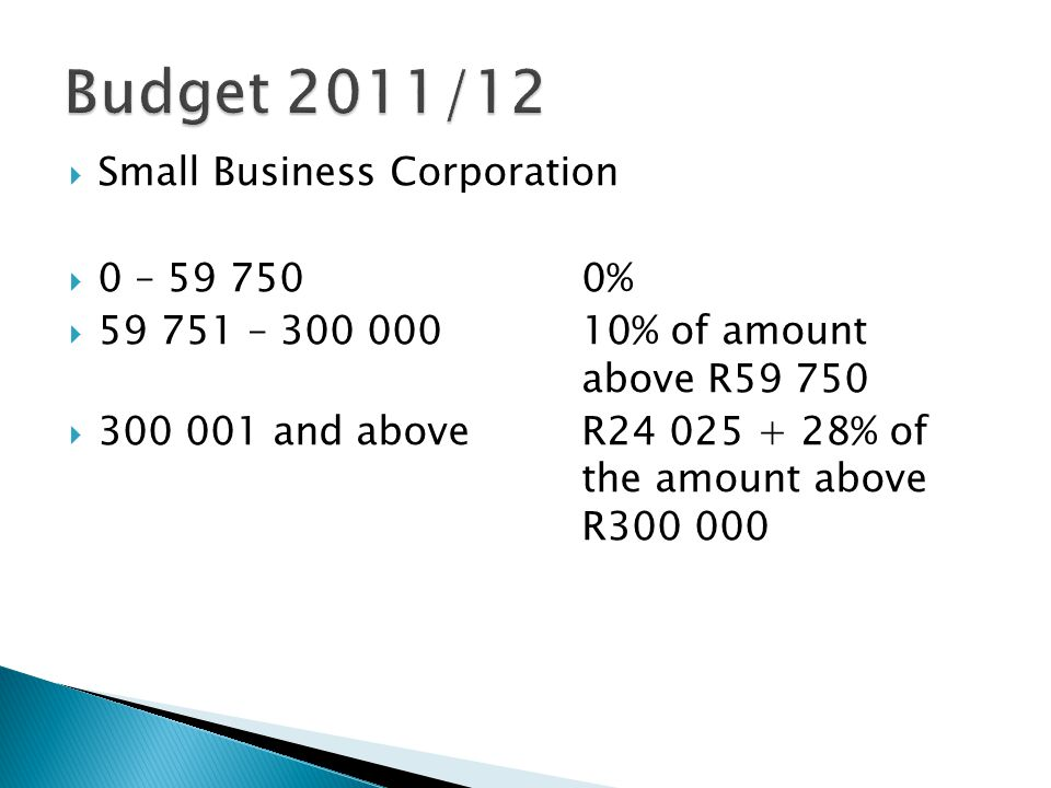  Small Business Corporation  0 – 59 7500%  59 751 – 300 00010% of amount above R59 750  300 001 and aboveR24 025 + 28% of the amount above R300 000