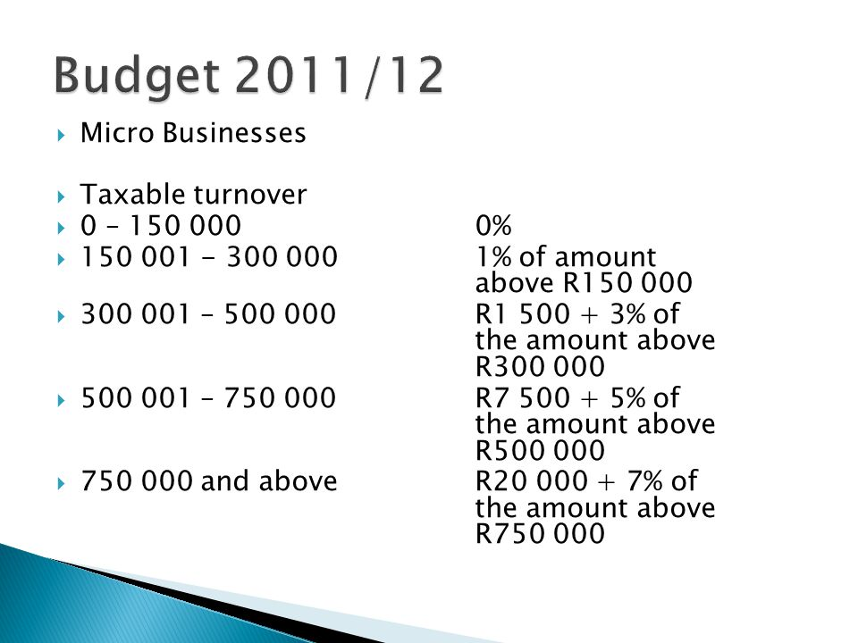  Micro Businesses  Taxable turnover  0 – 150 0000%  150 001 - 300 0001% of amount above R150 000  300 001 – 500 000R1 500 + 3% of the amount above R300 000  500 001 – 750 000R7 500 + 5% of the amount above R500 000  750 000 and aboveR20 000 + 7% of the amount above R750 000