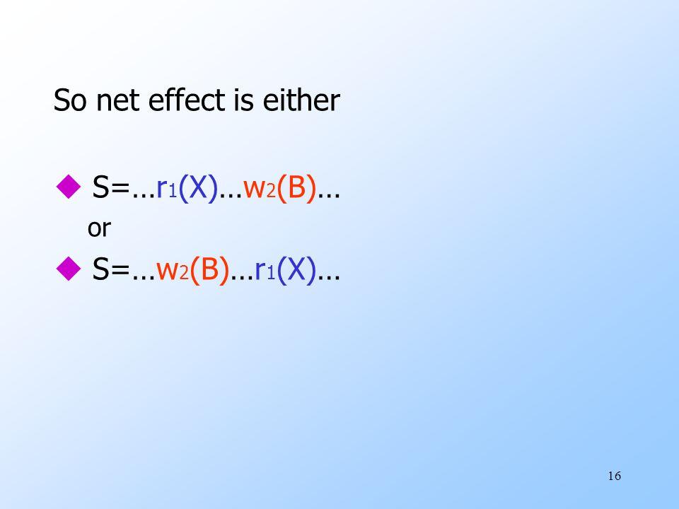 16 So net effect is either u S=…r 1 (X)…w 2 (B)… or u S=…w 2 (B)…r 1 (X)…