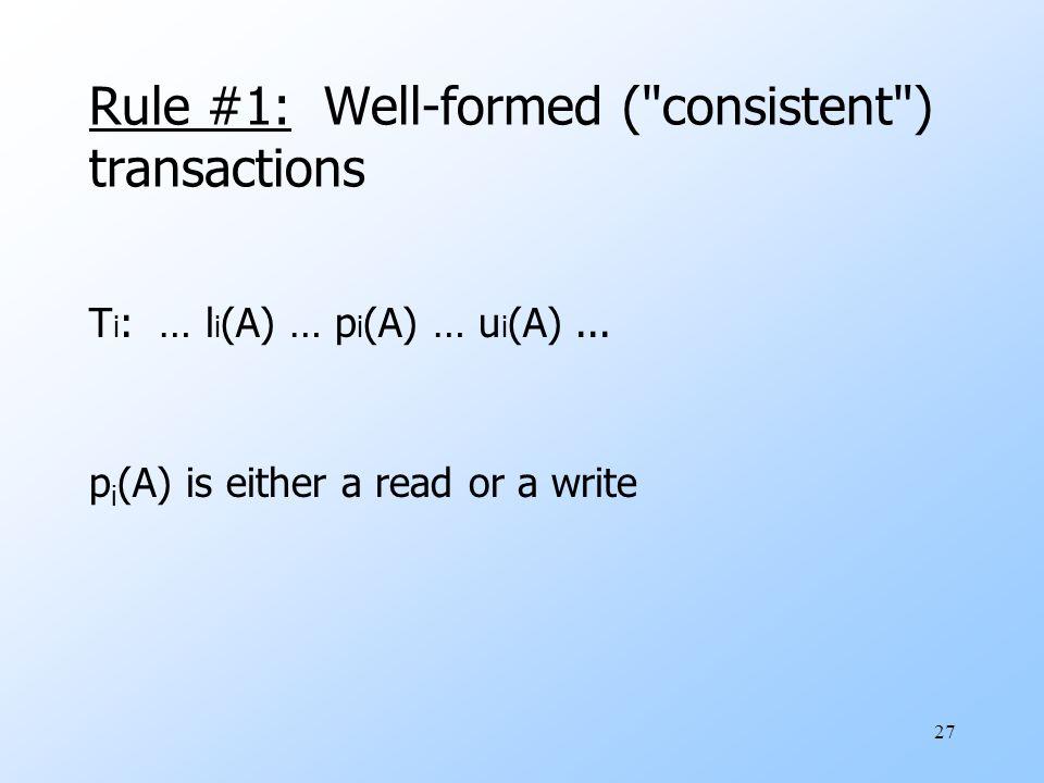 27 Rule #1: Well-formed ( consistent ) transactions T i : … l i (A) … p i (A) … u i (A)...
