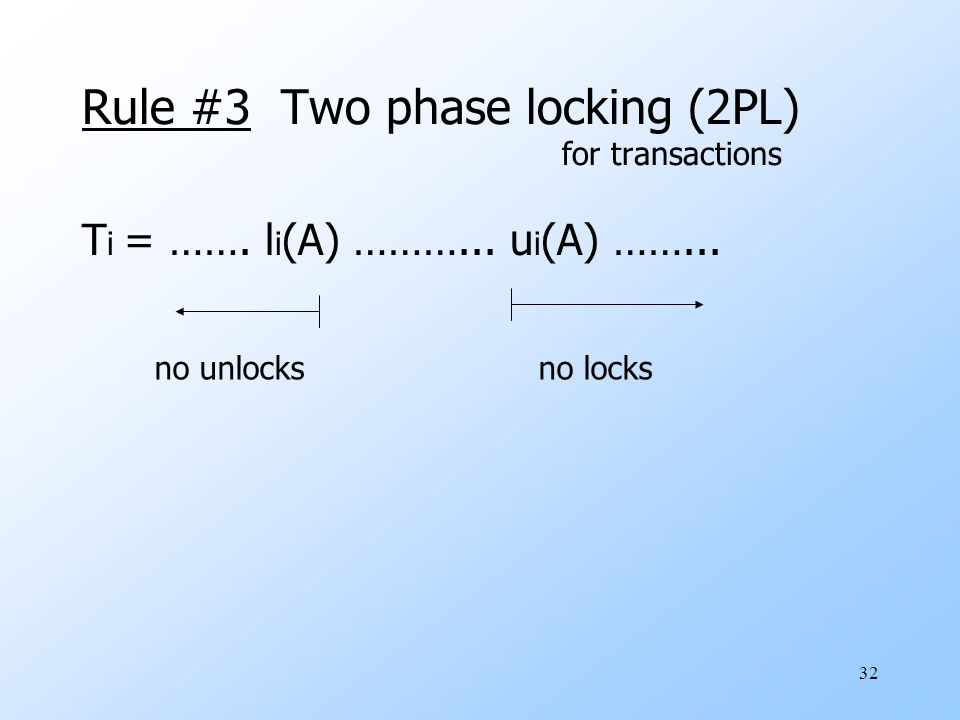 32 Rule #3 Two phase locking (2PL) for transactions T i = …….