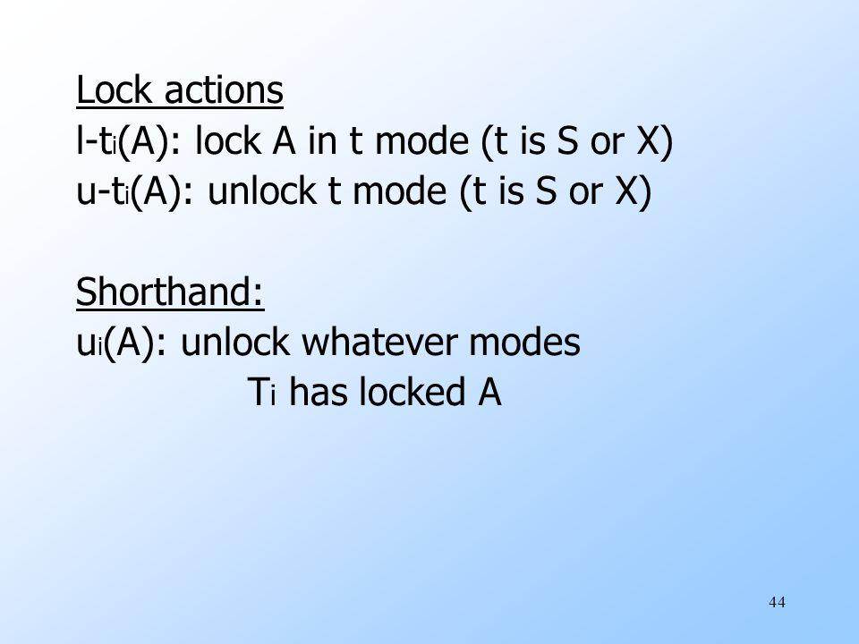 44 Lock actions l-t i (A): lock A in t mode (t is S or X) u-t i (A): unlock t mode (t is S or X) Shorthand: u i (A): unlock whatever modes T i has locked A