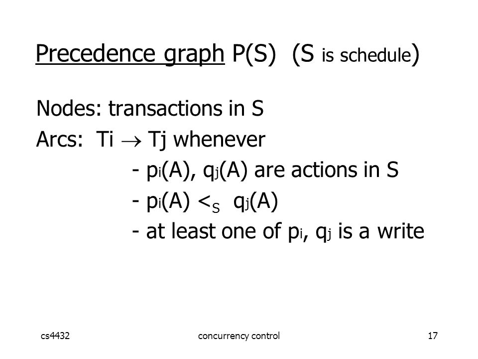 cs4432concurrency control17 Nodes: transactions in S Arcs: Ti  Tj whenever - p i (A), q j (A) are actions in S - p i (A) < S q j (A) - at least one of p i, q j is a write Precedence graph P(S) (S is schedule )