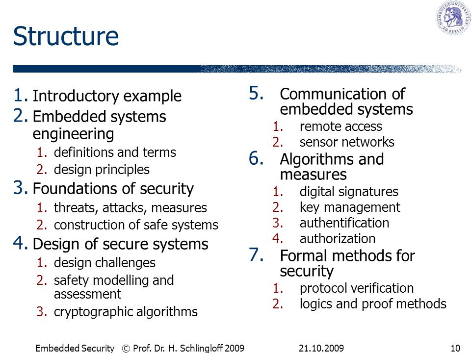 21.10.2009Embedded Security © Prof. Dr. H. Schlingloff 200910 Structure 1.