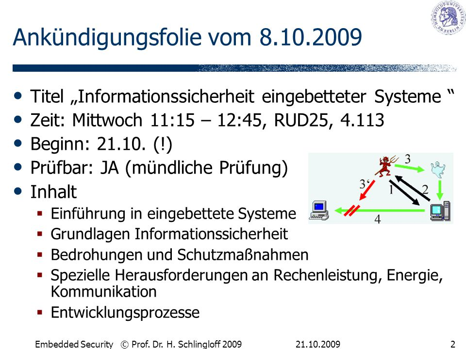21.10.2009Embedded Security © Prof.Dr. H.