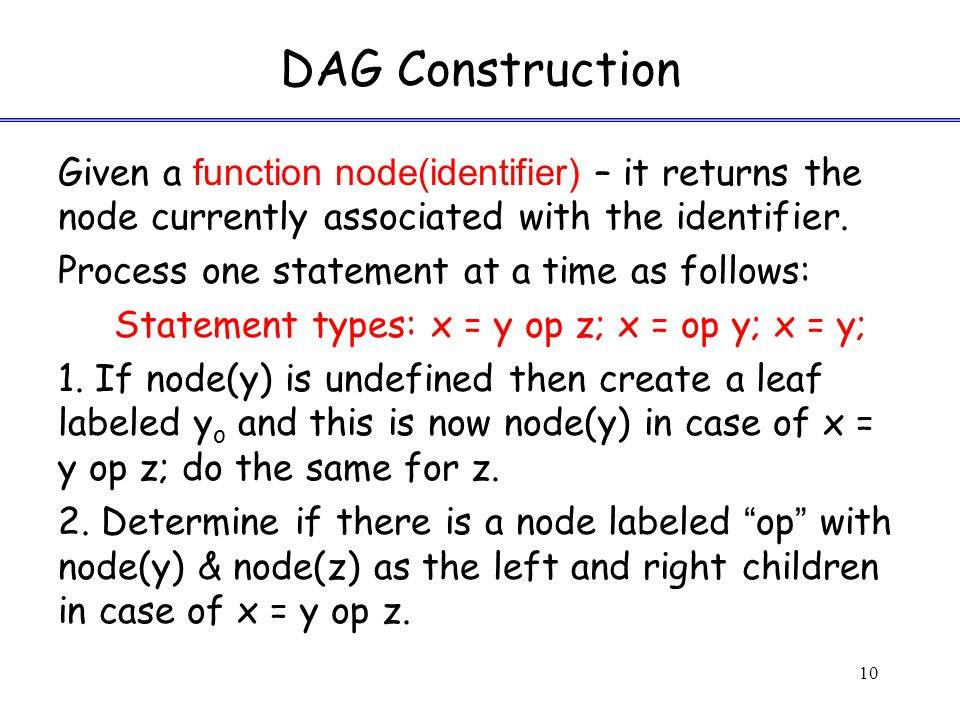 DAG Construction Given a function node(identifier) – it returns the node currently associated with the identifier.