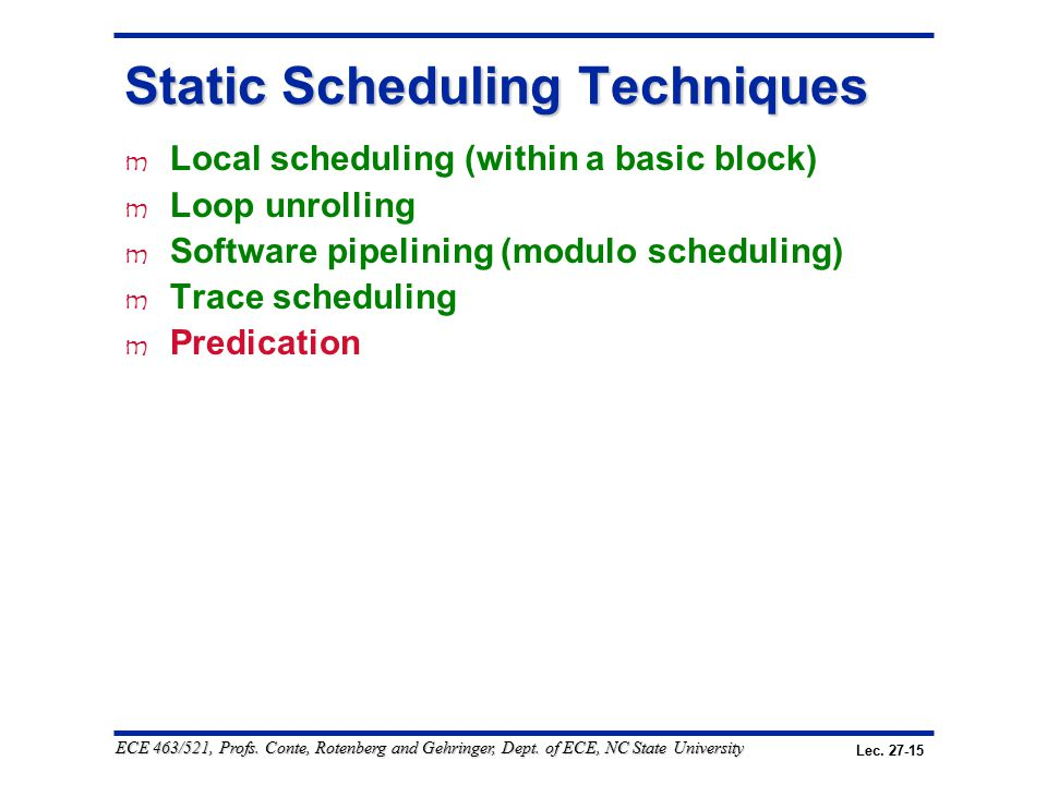 Lec. 27-15 ECE 463/521, Profs. Conte, Rotenberg and Gehringer, Dept. of ECE, NC State University Static Scheduling Techniques m Local scheduling (with