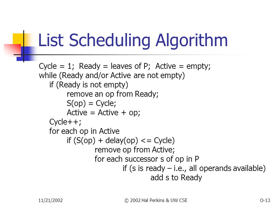 11/21/2002© 2002 Hal Perkins & UW CSEO-13 List Scheduling Algorithm Cycle = 1; Ready = leaves of P; Active = empty; while (Ready and/or Active are not empty) if (Ready is not empty) remove an op from Ready; S(op) = Cycle; Active = Active + op; Cycle++; for each op in Active if (S(op) + delay(op) <= Cycle) remove op from Active; for each successor s of op in P if (s is ready – i.e., all operands available) add s to Ready