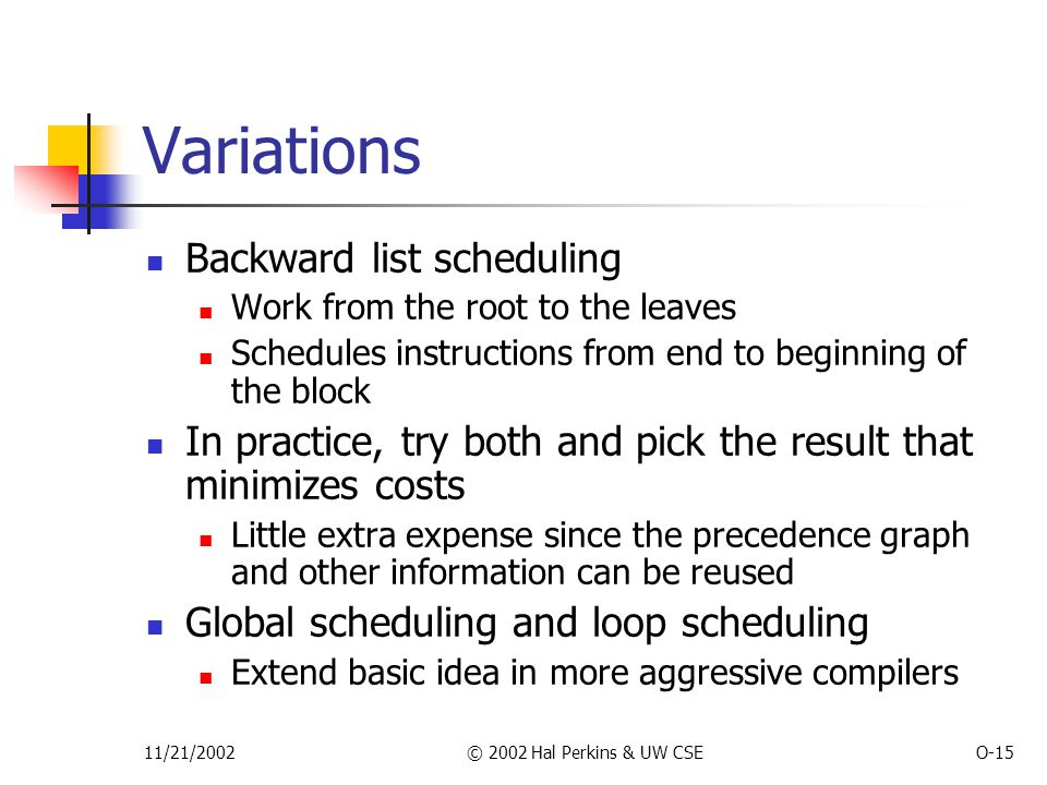 11/21/2002© 2002 Hal Perkins & UW CSEO-15 Variations Backward list scheduling Work from the root to the leaves Schedules instructions from end to beginning of the block In practice, try both and pick the result that minimizes costs Little extra expense since the precedence graph and other information can be reused Global scheduling and loop scheduling Extend basic idea in more aggressive compilers