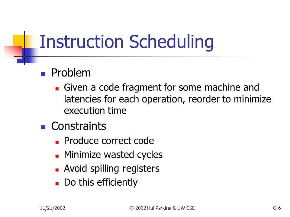 11/21/2002© 2002 Hal Perkins & UW CSEO-6 Instruction Scheduling Problem Given a code fragment for some machine and latencies for each operation, reorder to minimize execution time Constraints Produce correct code Minimize wasted cycles Avoid spilling registers Do this efficiently