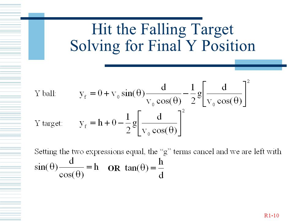 R1-10 Hit the Falling Target Solving for Final Y Position