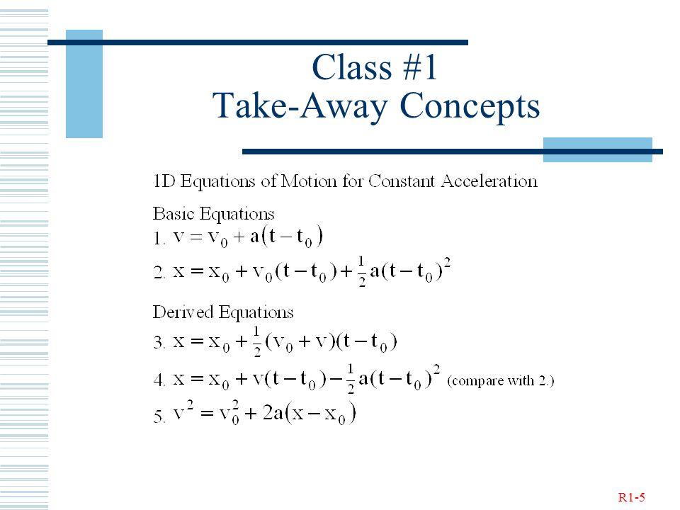 R1-5 Class #1 Take-Away Concepts